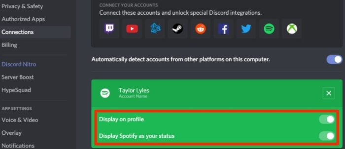 display Spotify as your status